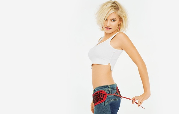 Picture girl, jeans, white background, Elisha Cuthbert