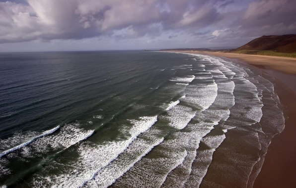 Picture sea, wave, beach, water, landscape, mountains, shore