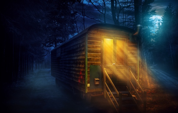 Picture forest, night, treatment, full moon, caravan