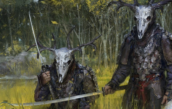 Picture forest, skull, sword, warrior, helmet, Hunter, armor