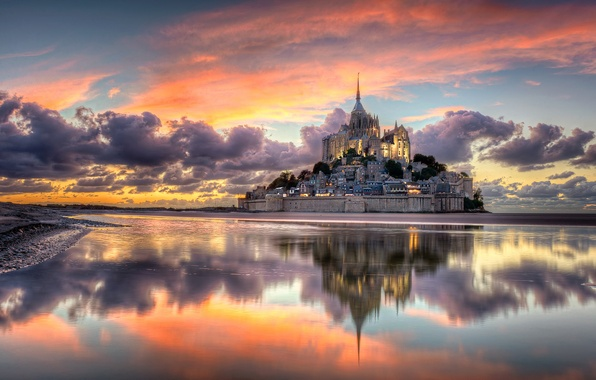 Picture clouds, the city, France, mountain, the evening, Normandy, Mont-Saint-Michel, the island fortress of, Archangel Michael