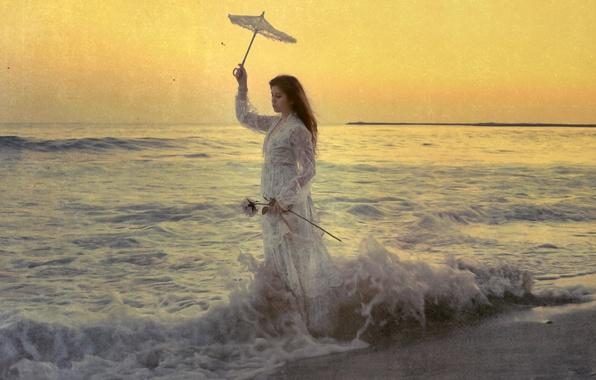 Picture sea, wave, girl, style, umbrella