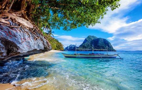 Picture sea, the sky, the sun, clouds, trees, tropics, stones, rocks, coast, boat, Philippines
