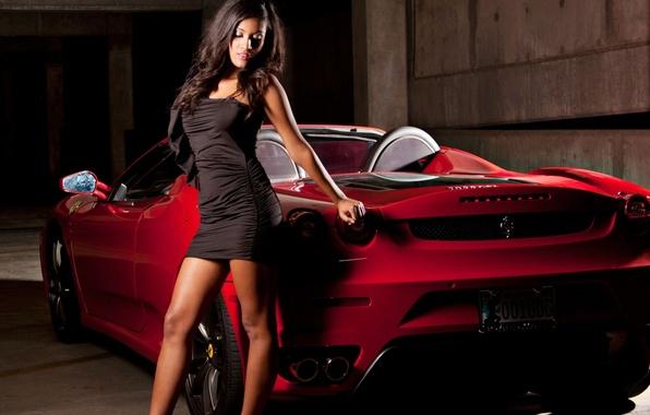 Picture girl, dress, Ferrari, convertible, Car, Ferrari, Girls, SA Aperta
