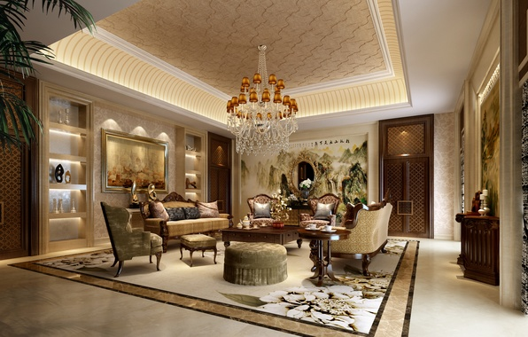 Picture style, room, interior, chairs, chandelier, pictures, sofas, living room, room, interior, living, desigen, table.