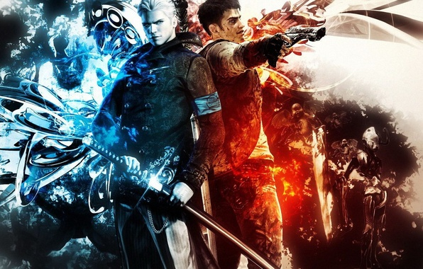 Picture weapons, guns, katana, devil may cry, two guys