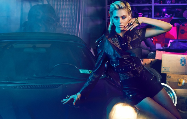 Picture auto, decoration, shorts, garage, makeup, figure, actress, jacket, hairstyle, blonde, blouse, beauty, posing, in black, ...