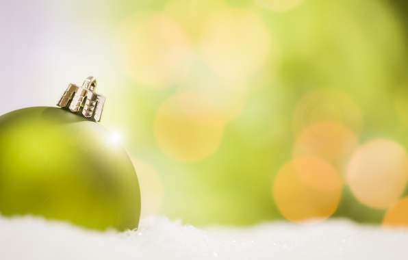 Picture winter, snow, green, background, toy, ball, ball, New Year, Christmas, decoration, Christmas, holidays, bokeh, New …