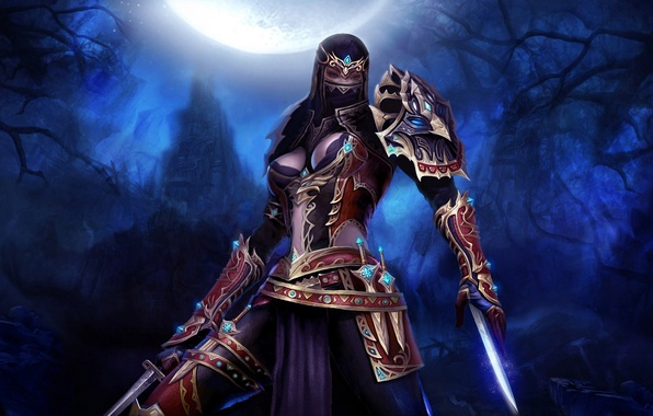 Picture forest, girl, night, castle, the moon, Art, assassin