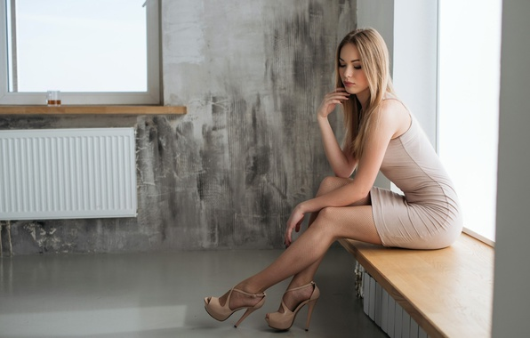 Picture girl, makeup, figure, dress, hairstyle, blonde, shoes, sill, legs, beautiful, posing, sexy, window, sitting