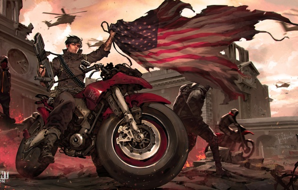 Picture the city, flag, soldiers, motorcycle, bike, revolution, Homefront: The Revolution