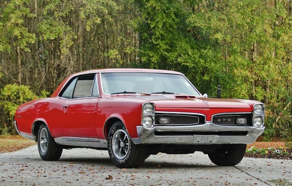 Picture red, retro, coupe, red, muscle car, classic, retro, muscle car, coupe, 1967, classic, pontiac, Pontiac, …