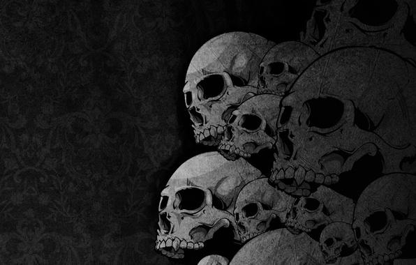 Picture skulls, bones, drawing