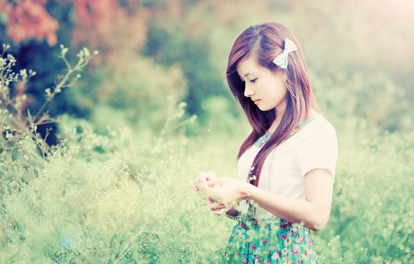 Picture Girl, Nature, Grass, Beautiful, Asian, Model, Beauty, Cute, Japanese, Outdoor, Calm
