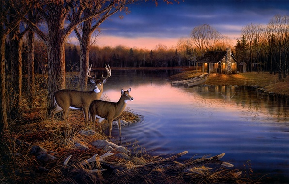 Picture autumn, forest, animals, water, trees, sunset, nature, lake, house, pond, river, boat, the evening, painting, …
