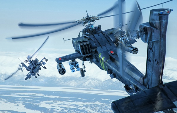 Picture the sky, snow, mountains, earth, helicopters, Boeing, combat, Apache, AH-64D, shock, Longbow, helicopters