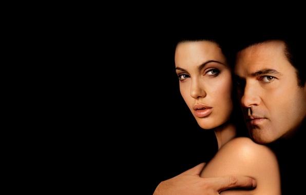 Picture darkness, the film, Angelina Jolie, Angelina Jolie, actors, black background, Original Sin, The temptation, Antonio …