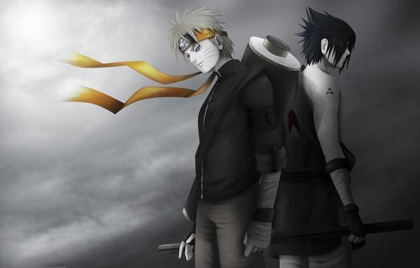 Picture art, Anime, Naruto, Naruto, Uchiha Sasuke, Uzumaki Naruto