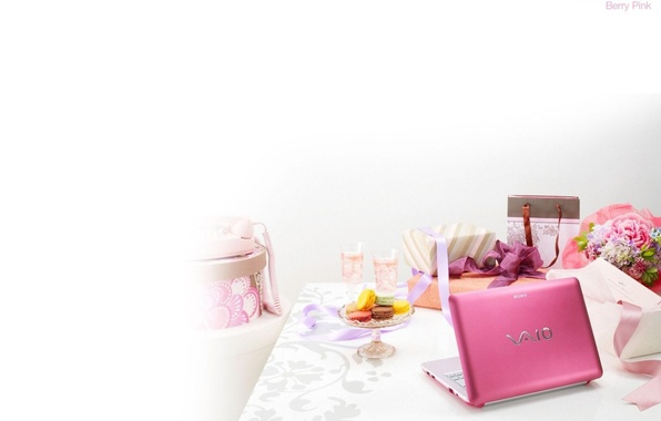 Picture table, pink, gifts, laptop, sony, vaio