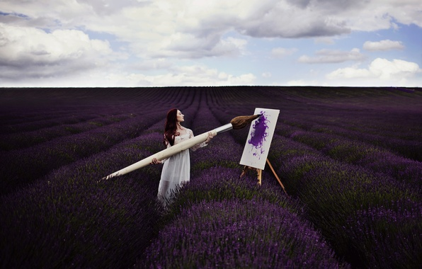 Picture field, girl, picture, brush, lavender