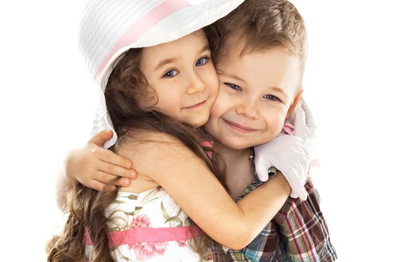 Picture children, mood, boy, hugs, friendship, girl, hat, smile
