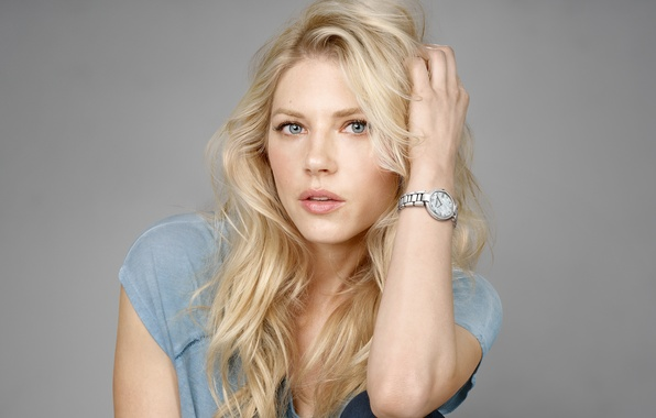 Picture grey, background, watch, jeans, makeup, advertising, actress, t-shirt, hairstyle, blonde, Raymond Weil, photoshoot, brand, Katheryn …