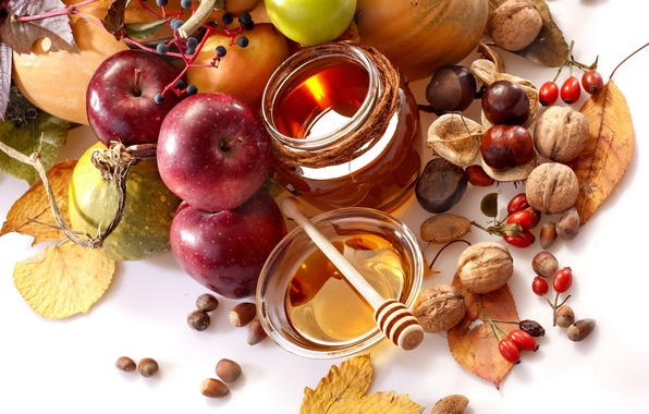 Picture autumn, leaves, apples, food, honey, briar, spoon, fruit, nuts, vegetables, pear, jar, chestnuts, bowl