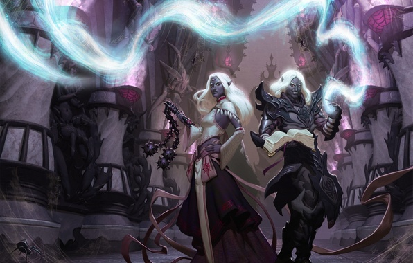 Picture girl, weapons, magic, spider, art, elves, guy, drow, Dungeons and Dragons