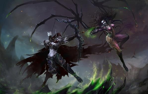 Picture weapons, girls, rocks, wings, bow, art, starcraft, World of Warcraft, battle, Sarah Kerrigan, sylvanas windrunner