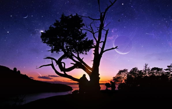 Picture stars, sunset, river, people, tree, planet, telescope