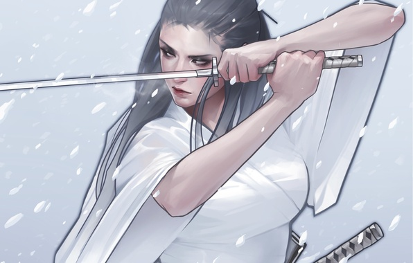 Picture look, girl, snow, weapons, katana, art, kimono