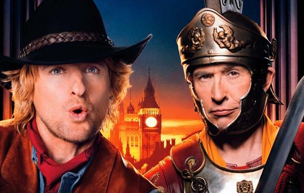 Picture night, background, sword, hat, armor, fantasy, helmet, cowboy, knight, poster, Palace, Owen Wilson, Steve Coogan, …