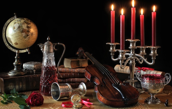 Picture notes, violin, rose, books, bowl, candles, still life, globe, decanter