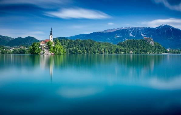 Picture mountains, lake, island, water surface, Slovenia, Lake Bled, Slovenia, Lake bled, Bled, Bled, The Julian …