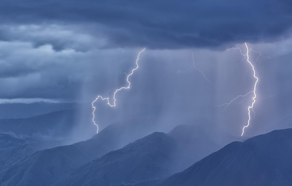 Picture forest, mountains, clouds, rain, lightning, panorama