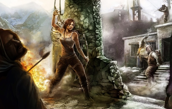 Picture girl, fire, art, battle, arrows, tomb raider, column