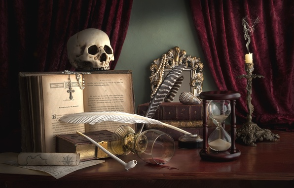 Picture pen, glass, skull, candle, tube, cross, mirror, shell, book, still life, curtains, hourglass
