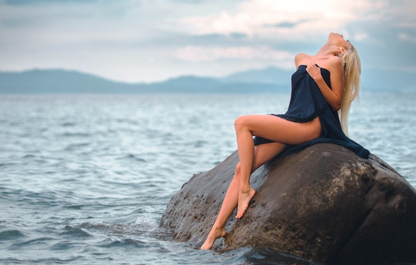 Picture water, girl, stone, legs