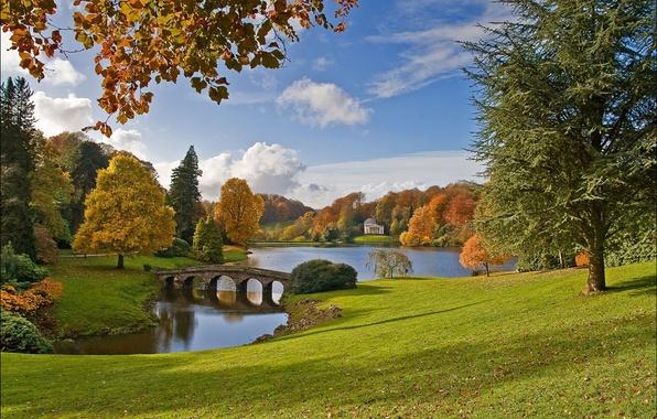 Picture autumn, trees, bridge, lake, Park, England, England, Wiltshire, Stourhead Garden, Wiltshire