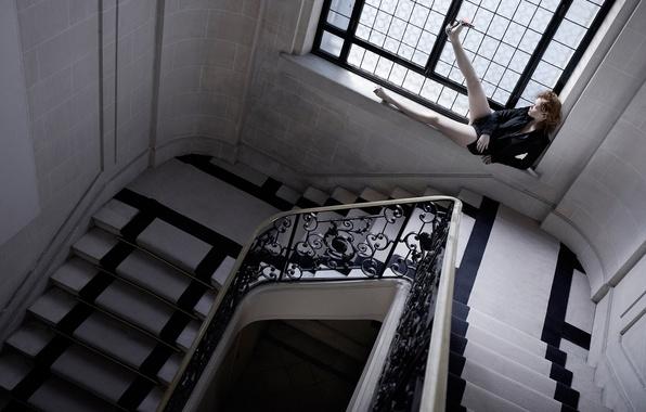 Picture window, ladder, railings, Vogue, Lea Seydoux