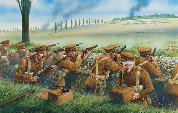 Picture bee, fire, art, soldiers, British, team, leads, German, WWI., the first world war, Lee-Enfield, coming, ...