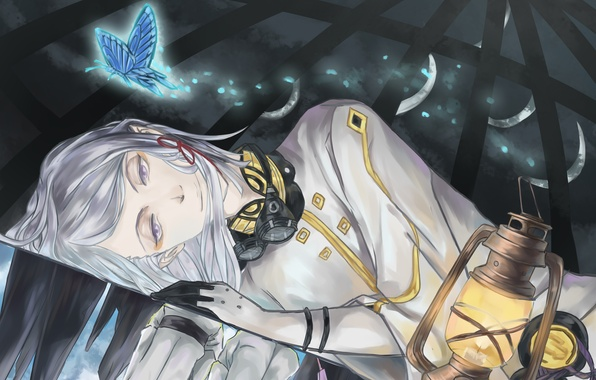 Picture night, smile, butterfly, lantern, lies, guy, Last Exile, Exile, Dio Eraclea