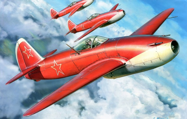 Picture clouds, figure, art, aircraft, THE SOVIET AIR FORCE, AS-15, Feather