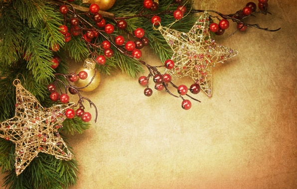 Picture stars, balls, decoration, holiday, toys, tree, branch, New Year, Christmas, Christmas, vintage, gold, vintage, New …