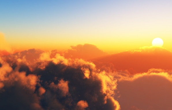 Picture the sun, clouds, landscape, mountains, heaven, view, beauty, euphoria, mountains, sunset, clouds, sunsets, sundown