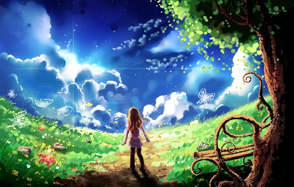 Picture the sky, clouds, butterfly, tree, art, shop, girl, path, lawn