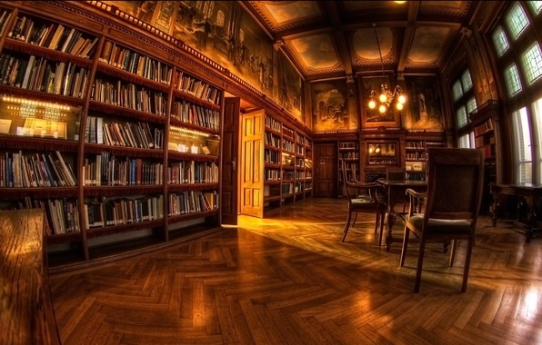 Picture room, Wallpaper, library