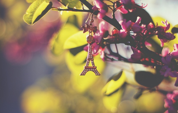 Picture leaves, Eiffel tower, keychain, suspension