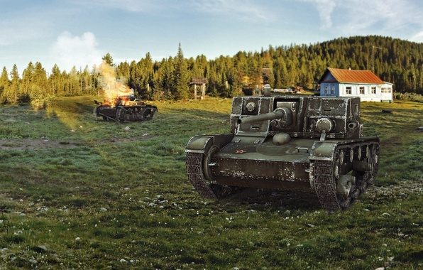 Picture forest, house, art, tank, tanks, WoT, World of Tanks, PT-ACS, Wargaming.net, The at-1