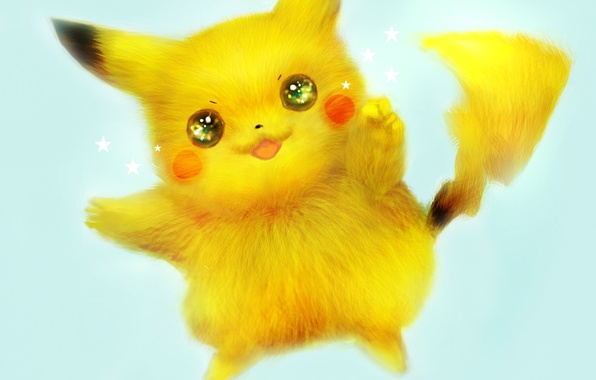 Picture reflection, animal, anime, art, fur, Pikachu, stars, pokemon, Pikachu, 42 7